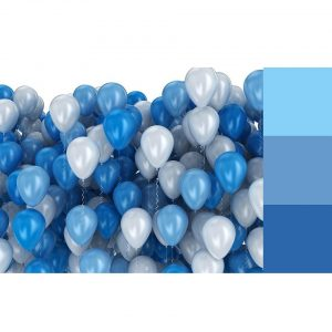 Blue and white balloons on white background